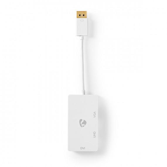 Nedis Câble Adaptateur Multi DisplayPort Mini DisplayPort Mâle vers VGA Femelle + DVI-D 24+1 Broches Femelle + Sortie HDMI 2.0 0,2 m Blanc