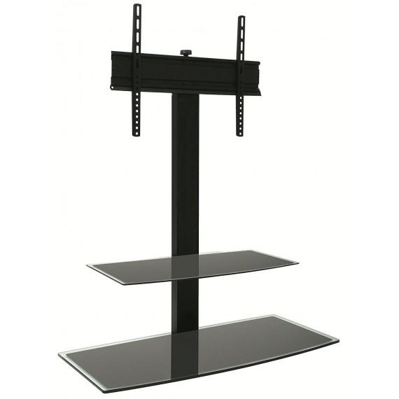 ERARD Meuble TV - 035061 Console tête rotative-Design noir-2 plateaux verre sérigraphié-Idéal 32' au 50'-GC-PM: 40Kg