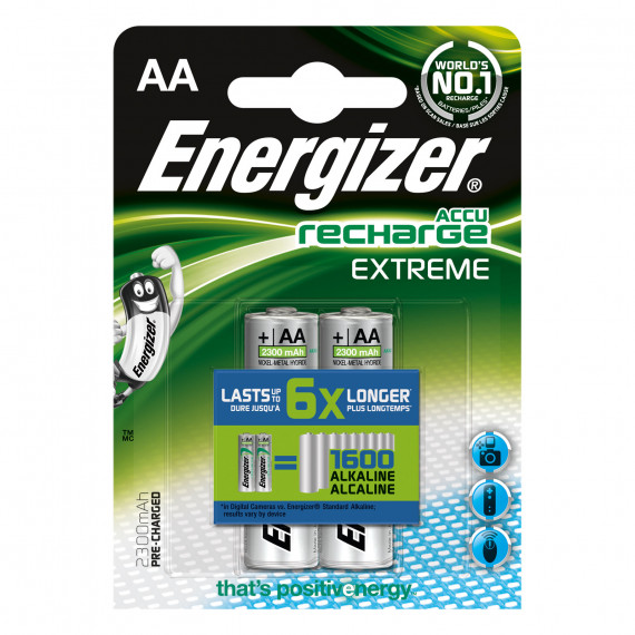 Energizer AccuRecharge Extreme Blister de 2 piles rechargeables HR06 2300 mAh