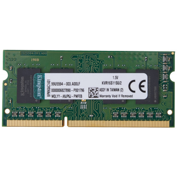 KINGSTON SO-DIMM 2 GB DDR3-1600 KVR16S11S6/2
