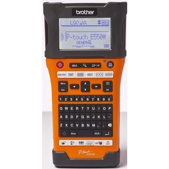 Etiqueteuse Brother P-touch E550WVP orange / noir pour l'industrie, les métiers et les bureaux électriques étiqueteuse Tapes: jusqu'à 24 mm