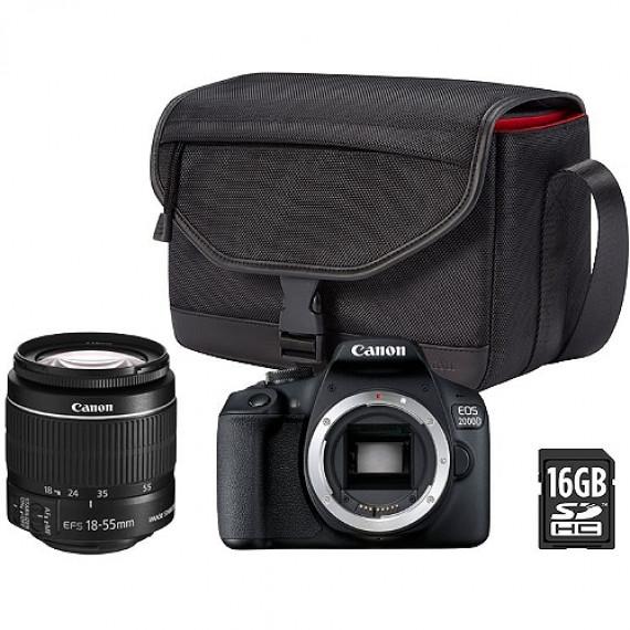 CANON Appareil photo + Accessoires  EOS 2000D 18-55DC + Fourre-tout + Carte