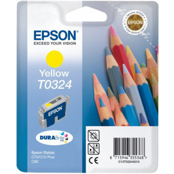 EPSON BLISTER ENCRE PIGMENT JAU  T0324 cartouche d encre jaune capacite standard 16ml 420 pages 1-pack blister sans alarme