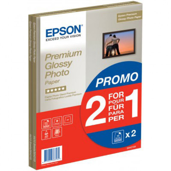 EPSON C13S042169 - Papier glacé qualité photo Premium A4 255 g/m² (30 feuilles) - Pack promo : 2 pour 1