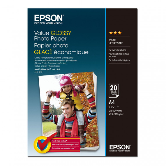 EPSON Value Glossy A4 (C13S400035) - Papier photo glacé A4 (20 feuilles)