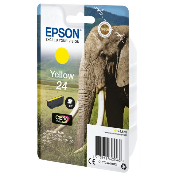 EPSON 24 yellow ink  24 cartouche encre jaune capacite standard 4.6ml 360 pages 1-pack RF-AM blister