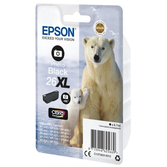 EPSON Singlepack Photo Black 26XL Claria  26XL cartouche dencre photo noir haute capacite 8.7ml 400 photos 1-pack RF-AM blister