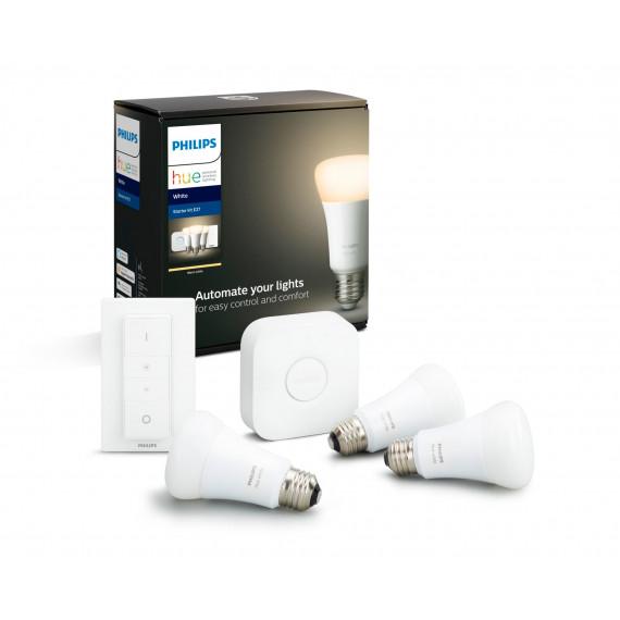 1MORE PHILIPS HUE Kit de démarrage White 3 ampoules avec pont de connexion et télécommande variateur