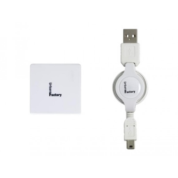 URBAN FACTORY Crazy Hub USB 2.0  4 ports cable rétractable- Blanc