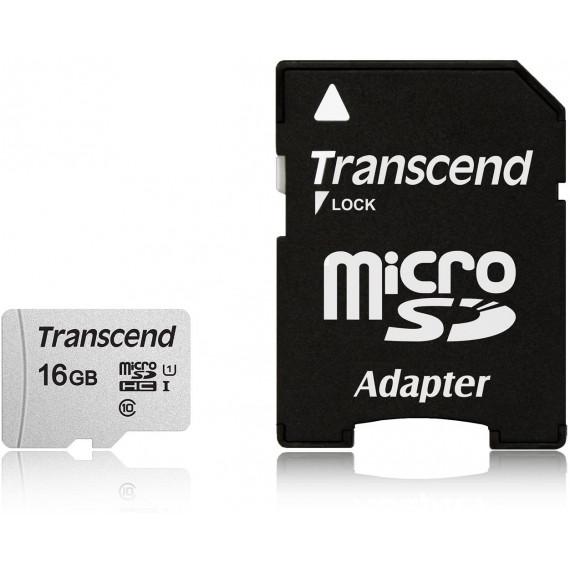 TRANSCEND Micro SDHC 16Go Class 10 + Adapt TS16GUSD300S-A