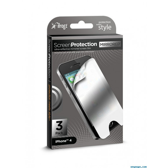IFROGZ Protection ecran iPhone 4 (x3) - Miroir ¬ (IP4GSP3-MIR)