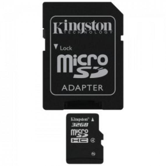 KINGSTON Carte mémoire microSDHC 32 Go avec adaptateur SD (garantie 10 ans par Kingston)