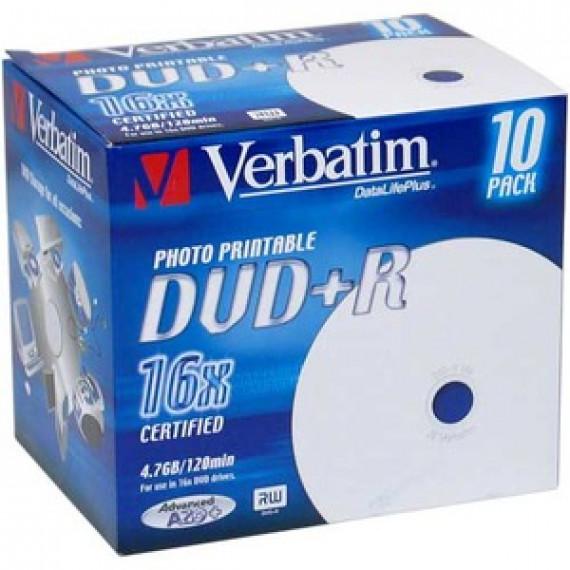VERBATIM DVD+R 4.7 GO 16X IMPRIMABLE (PAR 10, BOITE)