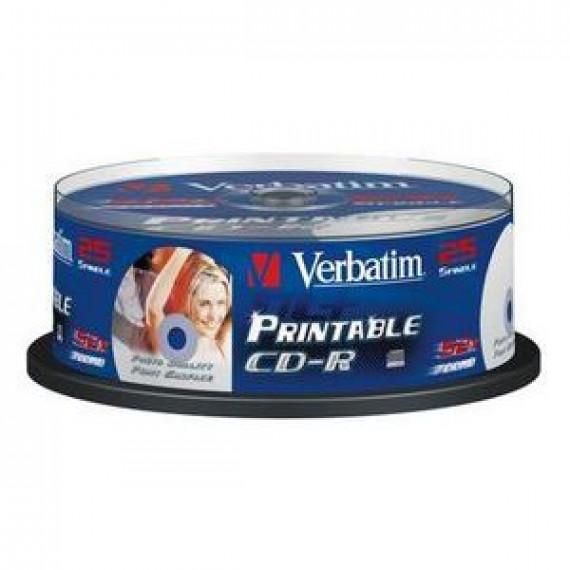 CD vierge Verbatim CD-R 700 Mo certifié 52x imprimable (pack de 25, spindle)