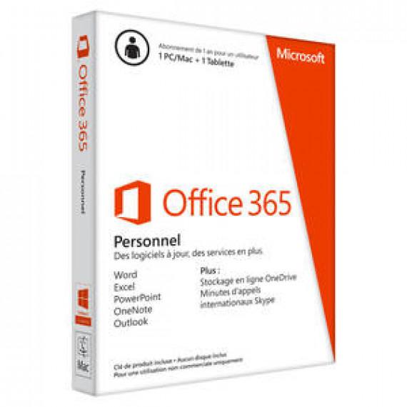 Microsoft Office 365 Personnel Licence 1 utilisateur pour 1 PC ou Mac + 1 tablette du même utilisateur - Abonnement 1 an