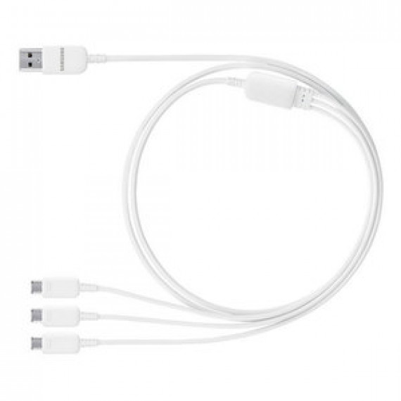 Accessoire divers pour téléphone portable - Samsung Multi charge USB ET-TG900UWEGWW - Câble Multi Charge USB 3 en 1 Blanc
