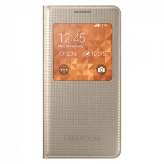 Etui folio Samsung S-View Or Samsung Galaxy Alpha - pour Samsung Galaxy Alpha