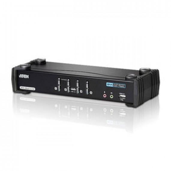 Commutateur KVM ATEN CS1784A DVI Dual Link USB à 4 ports avec audio et concentrateur USB 2.0