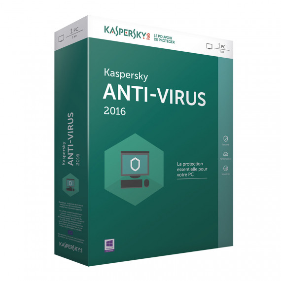Antivirus Kaspersky Anti-Virus 2016 - Licence 1 an 1 poste -  (français, WINDOWS)