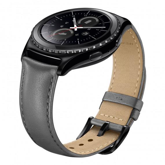 Samsung Bracelet Gear S2 Classic M Gris Bracelet en cuir de taille M pour Samsung Gear S2 Classic