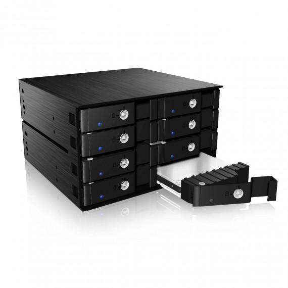 """Rack mobile ICY BOX IB-2280SSK pour 8 disques durs 2.5"""" SATA / Disque dur SAS/SSD dans 2 baies 5.25"""""""