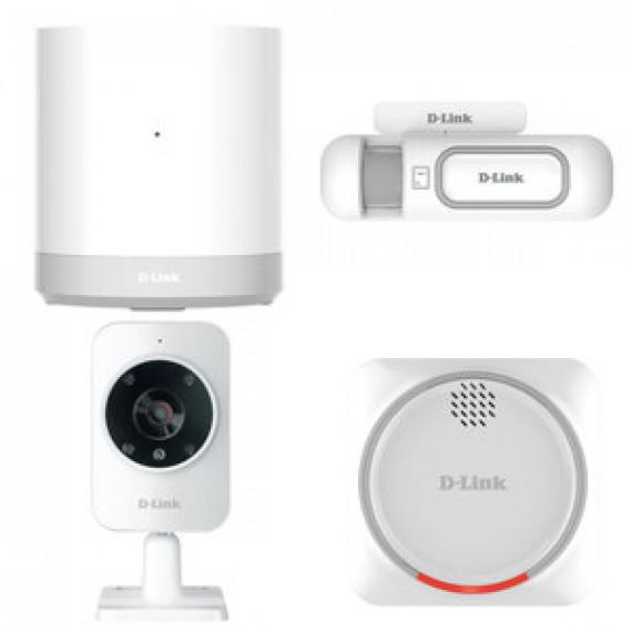 Pack de sécurité maison D-Link Smart Home Security Kit connectée mydlink Home (box connectée + 1 capteur d'ouverture de porte + sirène + caméra réseau)
