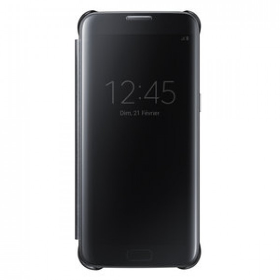 Etui à rabat Samsung Clear View Cover Noir Samsung Galaxy S7 Edge - avec affichage date/heure pour Samsung Galaxy S7 Edge