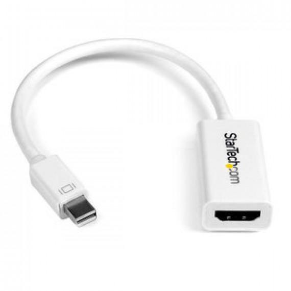 Adaptateur actif StarTech.com MDP2HD4KS Blanc - Mini-DisplayPort 1.2 vers HDMI 4K (Mâle/Femelle) - 0.15 mètre