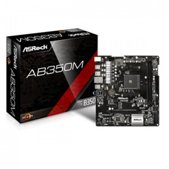 Carte mère ASRock AB350M - Micro ATX Socket AM4 AMD B350 - 2x DDR4 - SATA 6Gb/s + M.2 + Ultra M.2 - USB 3.0 - 1x PCI-Express 3.0 16x