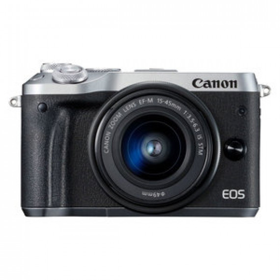 "Appareil photo 24.2 MP CANON EOS M6 ARGENT + EF-M 15-45 MM IS STM - Vidéo Full HD 60p - Dual AF - Ecran LCD tactile inclinable 3"" - Wi-F/NFC - Bluetooth (boîtier nu)"