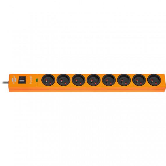 Prolongateur multiprise Brennenstuhl Hugo! (orange - 8 prises) - 8 prises avec parasurtenseur - 2 mètres