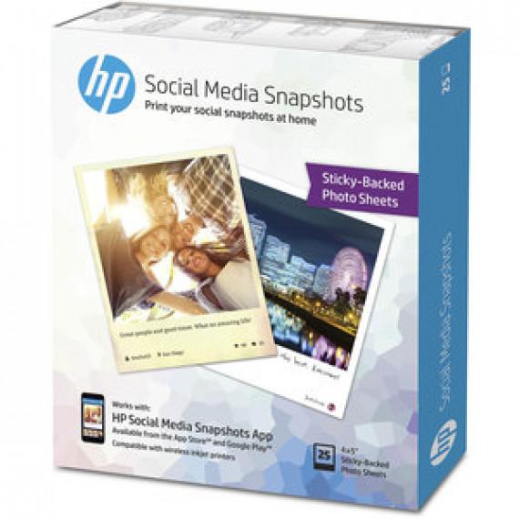 Papier photo adhésif HP W2G60A - Social Media Snapshots amovible 10 x 13 cm - 25 feuilles