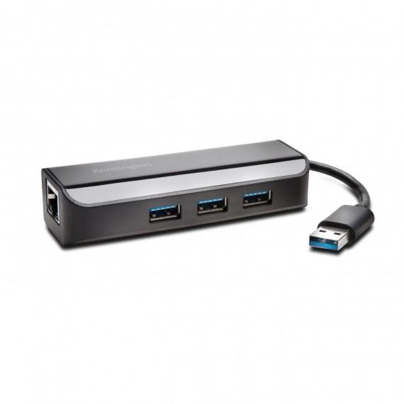 Kensington UA3000E noir, USB 3.0 adaptateur Ethernet et le concentrateur 3 ports concentrateur USB 10/100/1000 MBit / s 1x RJ-45 (LAN), 3x USB 3.0