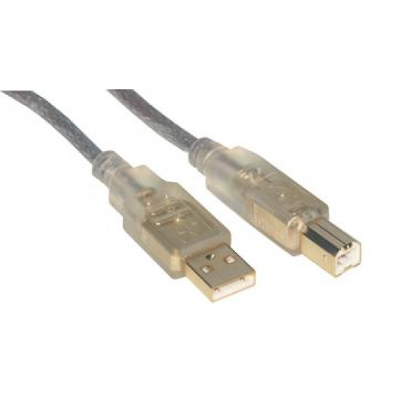 MCL Câble USB 2.0 type A / B mâle Translucide contacts OR - 3m