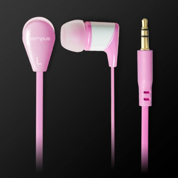 Ecouteurs audio ADVANCE Intra-auriculaires, pour smartphones/Tablettes/MP3/MP4/Consoles, mini jack 3,5mm, câble plat de 120cm, Rose