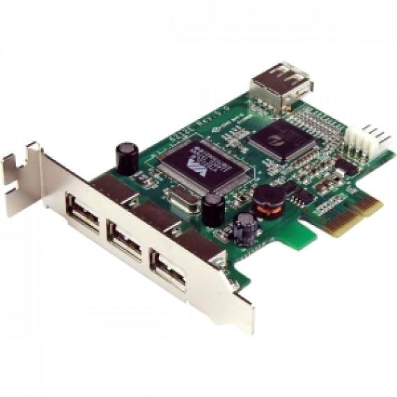 StarTech.com Carte Adaptateur PCI Express vers 4 Ports USB 2.0 - Carte PCIe Interne Externe - 4 Total USB Port(s) - 4 USB 2.0 Port(s) - PC, Mac