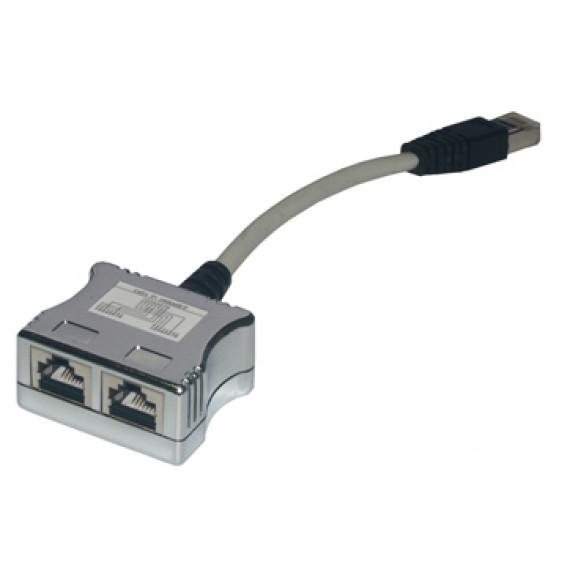 MCL Câble dédoubleur de paires RJ45 Cat 5e blindé F / M / F - Ethernet